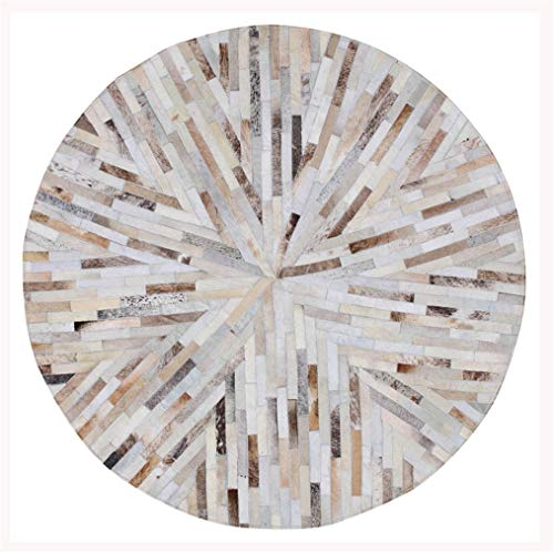 (Carpet Multi-Function Cowhide Rug Round Home Living Room Bedroom Cloakroom Mat Bedside Blanket Computer Chair Mat Environmentally Friendly Low Carbon Non-Slip Floor Protection Mat,Diameter1.6m/5'2 )