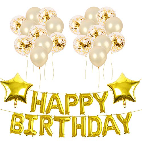 AmyHomie Birthday Party Decorations with Hanging String Balloon Ribbon, Happy Birthday Balloons, Happy Birthday Banner Balloons, Foil Letter Balloons, Balloon Set for Birthday Party (Gold)