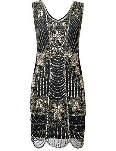 [PrettyGuide Women's 1920s Gatsby Sequin Art Deco Plus Size Cocktail Flapper Dress 3XL Gold] (Gold Flapper Dress)
