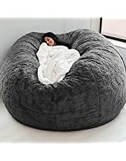 Giant Bean Bag Chair Cover (No Filler), 7ft Faux Bont Lazy Sofas Cover Posh Lounger Bean Bag Opslagstoel Draagbare Woonkamer Slaapbank Bedekking (Color : Gray)