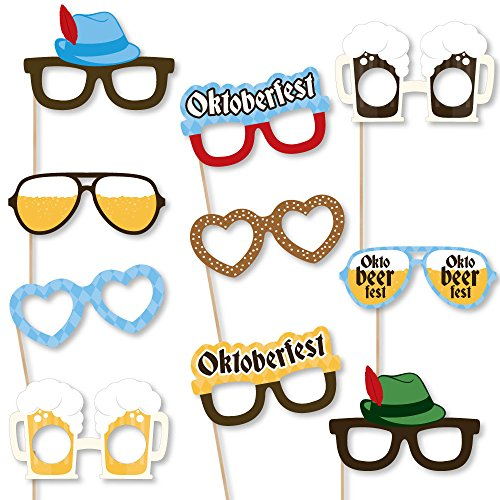 (Big Dot of Happiness Oktoberfest Glasses - Paper Card Stock Party Photo Booth Props Kit - 10)