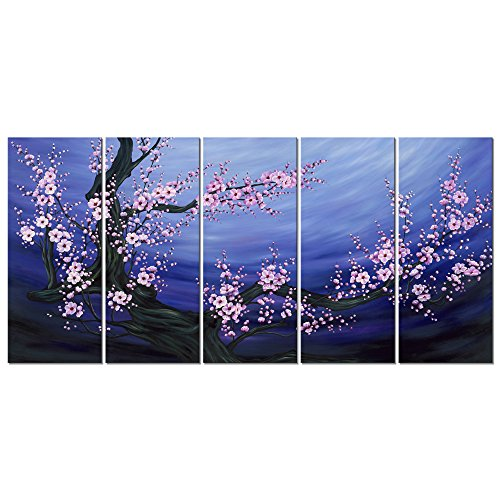 Wieco Art Blue Plum Blossom Canvas Prints Wall Art Purple Flowers Paintings Style Pictures for Living Room Bedroom Home Decorations Modern 5 Piece Stretched and Framed Contemporary Floral Artwork