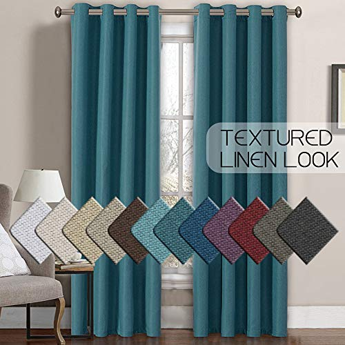 Primitive Burlap Linen Curtains for Bedroom 84 Room Darkening Thermal Insulated Living Room Curtains/Drapes, Antique Grommet Faux Linen Window Drapes, 52 by 84 Inch - Aegean Blue (1 Panel) (Turquoise Brown And Curtains)
