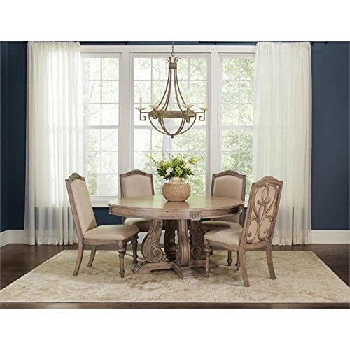 (Coaster Home Furnishings Ilana 5-Piece Round Pedestal Table Dining Set Antique Linen)