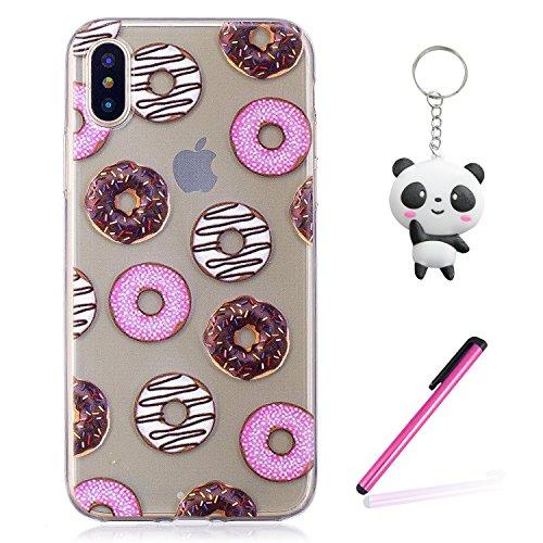 iPhone X Hülle Donuts Premium Handy Tasche Schutz Transparent Schale Für Apple iPhone X / iPhone 10 (2017) 5.8 Zoll Mit Zwei Geschenk