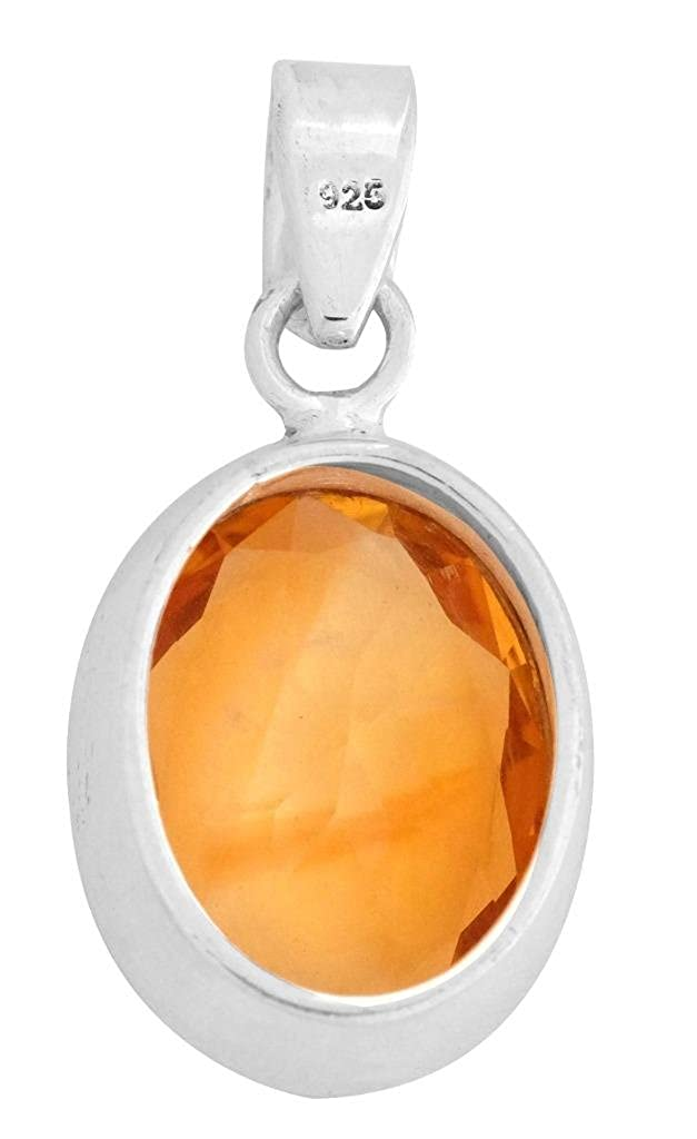 Natural Citrine 925 Solid Sterling Silver Pendant Necklace Silver Jewelry No Chain