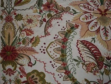 Amazon.com: Cojín bordado tela jardín del Edén Crema Algodón ...
