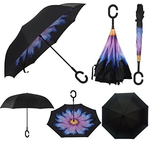 Rainlax Inverted Umbrella Double Layer Windproof Anti UV Protection Umbrellas for Car Rain Outdoor with C-Shaped Handle (Black,Glaze)