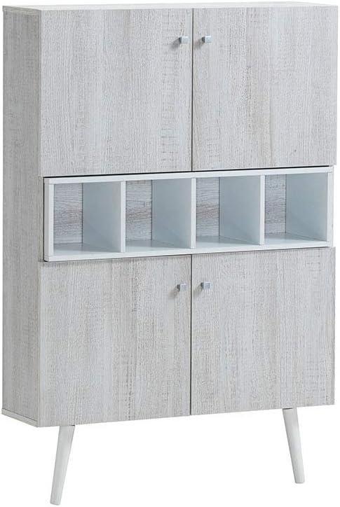 Myoshome - Zapatero Decorativo en Roble Polar y Blanco 80 x 120 x 24 cm Zeus