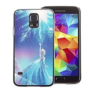 A-type Arte & diseño plástico duro Fundas Cover Cubre Hard Case Cover para Samsung Galaxy S5 (Fairy Princess Blue Winter Children'S)