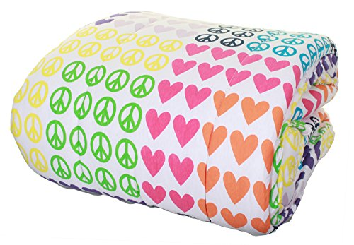 100% cotton Jersey Knit Comforter Twin Size (Peace (Peace Quilt)