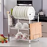 KINGSO 3-tier Chrome Metal Dish Rack Drainer Board Set With Drain Board Cutlery Holder for Home Kitchen,Plated Chrome Dish Dryer