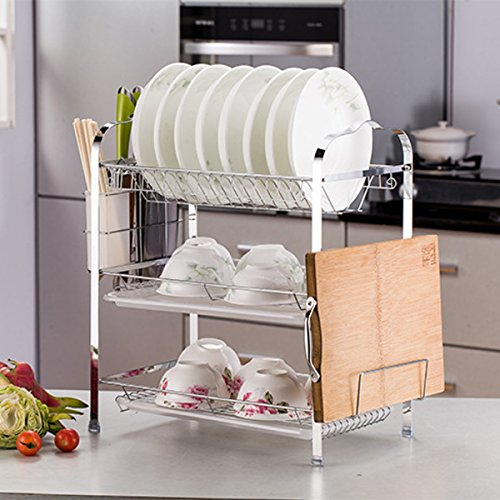 KINGSO 3-tier Chrome Metal Dish Rack Drainer Board Set With Drain Board Cutlery Holder for Home Kitchen,Plated Chrome Dish Dryer by KINGSO