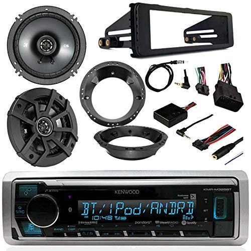 98-2013 Harley Kenwood KMR-M Marine Motorcycle ATV Bike Radio, Enrock Antenna with 2 Kicker Speakers, Adapters Rings FLHT FLHTC Touring Kit install Pkg