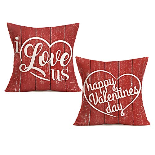 Royalours Red Wood Grain Background with Love Quote Lettering Cotton Linen Decorative Pillow Covers Happy Valentine's Day Home Decorative Throw Pillow Case Cushion Cover 18 x 18 Inch (Red Love)
