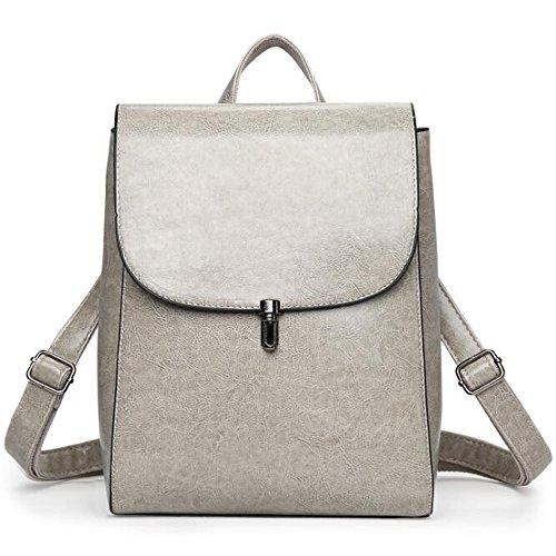 (JVP1011-K) japonés bolso de las señoras de cuero de LA PU mochila impermeable marrón lindo popularidad mochila liviana impermeable de gran capacidad para el viajero de la escuela colegialas mochila Gris
