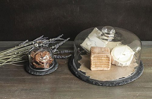 Small Round Glass Cloche Display Cover W/ Slate Base Country Home D by BCD (Image #1)