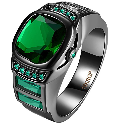 Emerald Fine Watch (AWLY Black Gold 3 Stone Watch Design Emerald Green Square Cut CZ Anniversary Wedding Ring for Women Men Size 8)