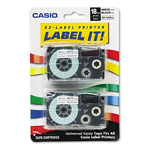 - Casio XR18WE2S Tape Cassettes for KL Label Makers, 18mm x 26ft, Black on White, 2/Pack