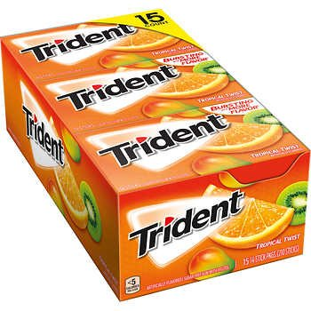 Trident Sugar Free Gum, Tropical Twist, 14 Pieces, 15 Packs
