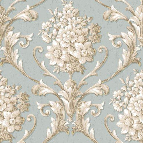 (Norwall CS35621 Floral Damask Prepasted Wallpaper, Multi-Color)