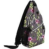 MOSISO Sling Backpack, Multipurpose Crossbody Shoulder Bag Travel Hiking Daypack, Space Gray Base Flower