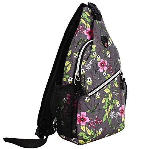 MOSISO Sling Backpack, Multipurpose Crossbody Shoulder Bag Travel Hiking Daypack, Space Gray Base Flower