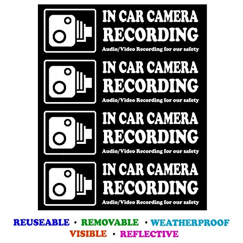 Camera Audio Video Recording Window Cars Stickers - 4 Signs Removable Reusable Indoor Dashcam in Use Vehicles Warning Decals Labels Bumpers Static Cling Accessories for Rideshare Taxi Drivers ()