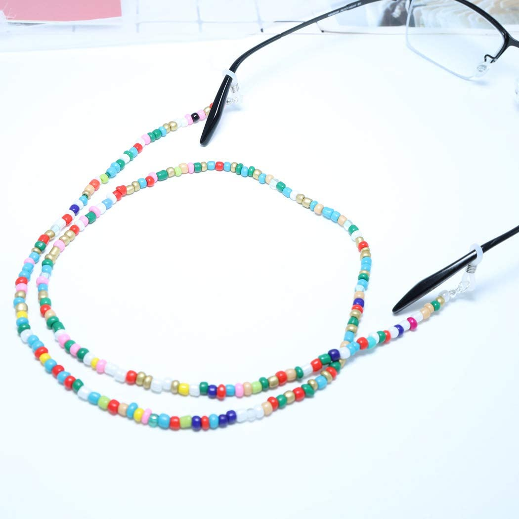 Yienate Boho Eyeglass Chains with Colorful Beads Anti-skid Glasses Chain Eyeglass Accessories Eyewear Retainer Eyeglass Strap Holder Sunglass Retainer Strap for Women and Girls Non-transparent