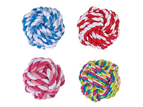 FENGRUIL Dog Colorful Woven Cotton Rope Chew Toy Interactive Jolly Balls 3 Sizes for Small Medium Large Dogs Cats Nuts for Knots Ball Great for Pets Play and Fun (2.75