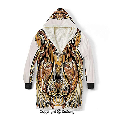 Tattoo Decor Blanket Sweatshirt,The Ancient Knights of Round Table Celtic Symbol with Saviour Angel Wings Wearable Sherpa Hoodie,Warm,Soft,Cozy,XL,for Adults Men Women Teens Friends,White and Black
