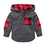Toddler Baby Boys Girls Stylish Plaid Pocket Print Sweatshirt Hooded Coat Kids Jackets Stretchy Tops (Red, 6-12 Months)