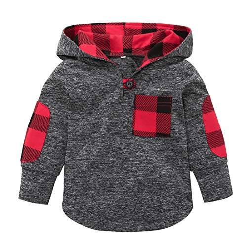 - Toddler Baby Boys Girls Stylish Plaid Pocket Print Sweatshirt Hooded Coat Kids Jackets Stretchy Tops (Red, 12-18 Months)