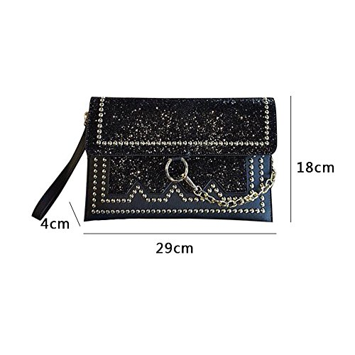Bag Sequined Silver Diamond Banquet Handbags Bag Bag Evening Color Bright Drill Rivet Bag Personalized Silver Envelope Leather Bag Hand Bright xXqYRY