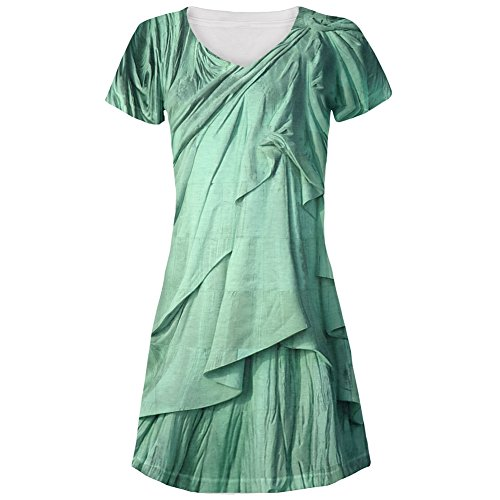 Statue of Liberty Lady Costume All Over Juniors Cover-up Beach Dress - Medium -