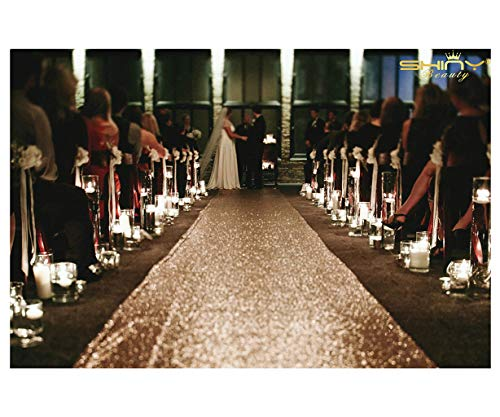 ShiDianYi Champagne Sequin Aisle Runner-4FTX15FT Glam Wedding Sparkle Glitz Aisle Runner Moss -