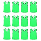 Nylon Mesh Scrimmage Team Practice Vests Pinnies Jerseys for Children Youth Sports Basketball, Soccer, Football, Volleyball (Green, Youth)