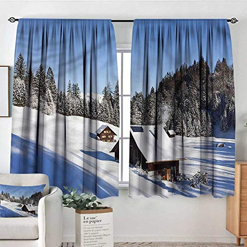 familytaste Winter,Printed Backout Curtains Log Cabins in Mountains 104