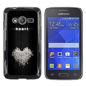 TECHCASE**Cubierta de la caja de protección la piel dura para el ** Samsung Galaxy Ace 4 G313 SM-G313F ** Heart Love Relatiosnhip Bling White Symbol