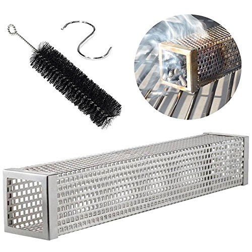 6 Inch Square Pellet Tube Smoker Plus Free Tube Brush- Stainless Steel Perforated Wood BBQ Smoke For Extra Smoke Flavor - Cold & Hot Smoking - Works With Pellets and (Plus Free Tube)