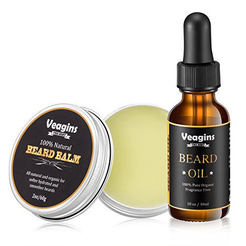 Beard Oil & Beard Balm Set for Men Beard Growth, Fragrance Free Mustache Leave in Conditioner Oil Organic Butter Wax Gift Package