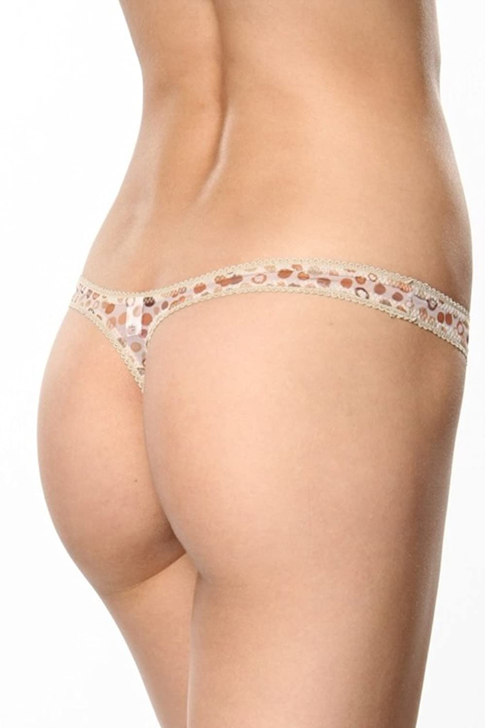 Underglam Sheer with Beige Dots Thong