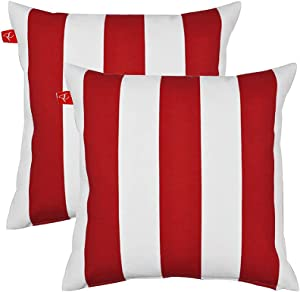 Pcinfuns Patio Indoor/Outdoor Stripe Red and White Throw Pillow Cushion Cover Decorative Replacement Cushion Case Square 18