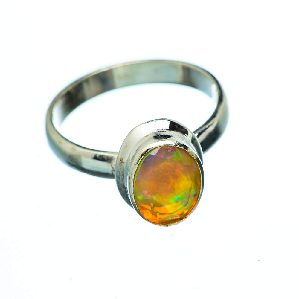Bohemian Handmade Jewelry Ana Silver Co Natural Ethiopian Opal 925 Sterling Silver Ring Size 6 Vintage RING950539