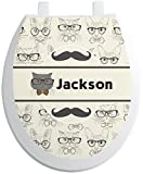 RNK Shops Hipster Cats & Mustache Toilet Seat Decal - Round (Personalized)