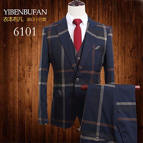 YFFUSHI Mens Plaid 2 Piece Suit Set Blazer Jacket Tux Vest Suit Pants Navy (Navy Plaid Suit)