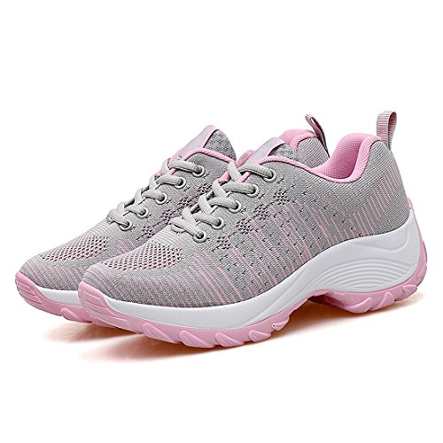 WEONEDREAM Women With Light and Breathable Leisure Sports Outdoor Tennis Shoes, Jogging, Running and Mountain Climbing Gray