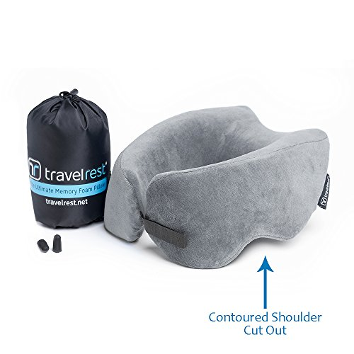 Travelrest Ultimate Memory Foam Travel Pillow/Neck Pillow - Therapeutic, Ergonomic & Patented - Washable Cover - Most Comfortable Neck Pillow - Compresses to 1/4 of its Size (2 Year Warranty) (Grey)