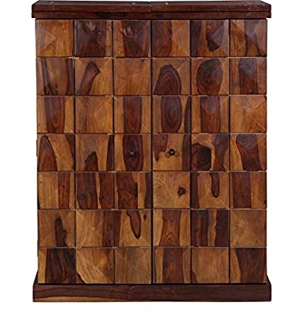 Piper Solid Wood Bar Cabinet Wine Cabinet in Provincial Teak Finish Sheesham Wood by Made Wood