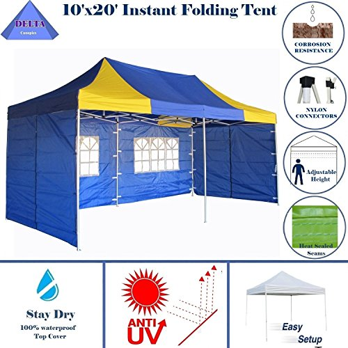 10'x20' Pop up 6 Walls Canopy Party Tent Gazebo EZ Blue Yellow - E Model By DELTA Canopies